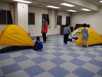 テント設営練習中