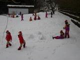 こちらも雪遊び