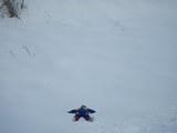 新雪の上で