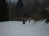 雪深い中の道